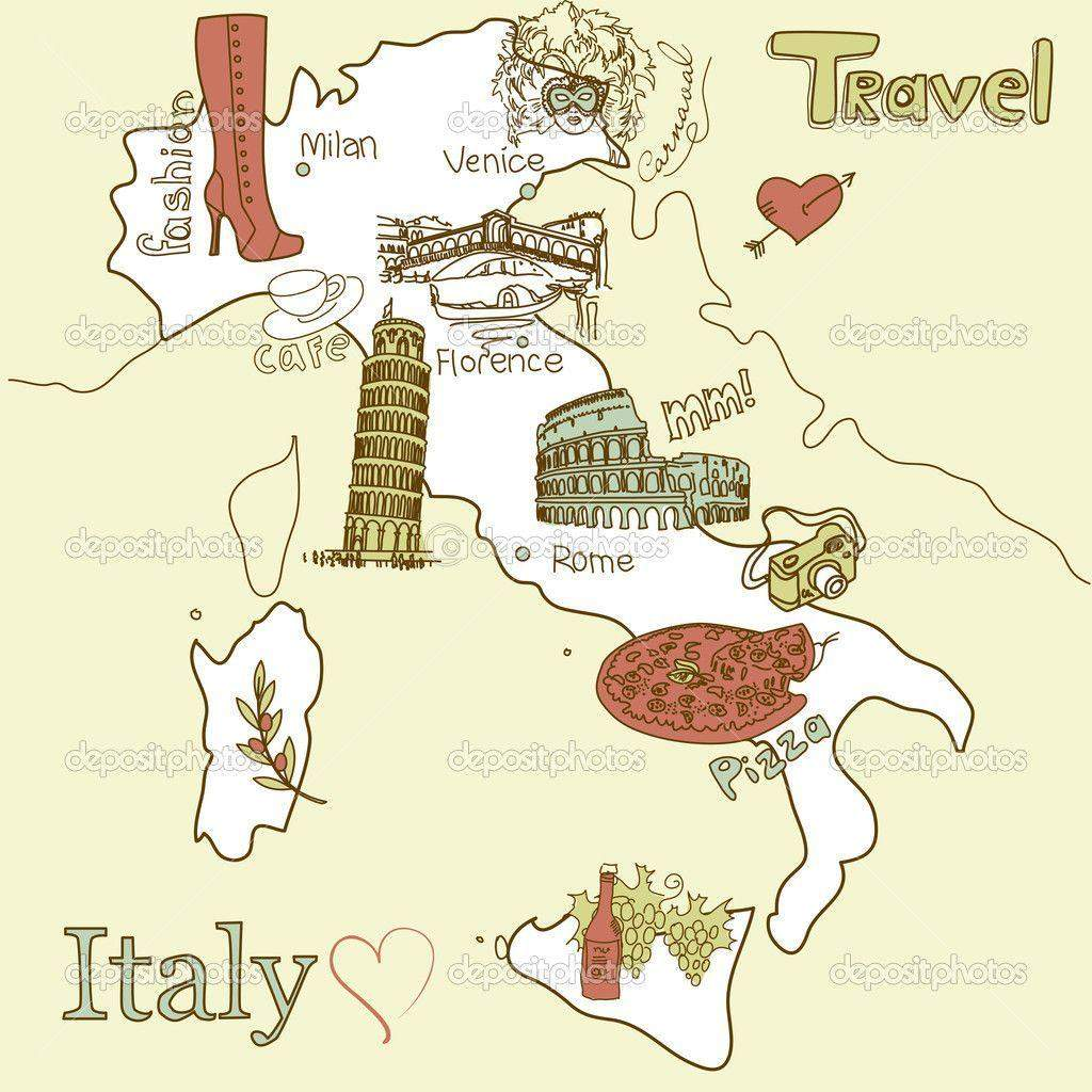 Creative map of Italy. Sightseeing in Italy - MilanoCard - The ...